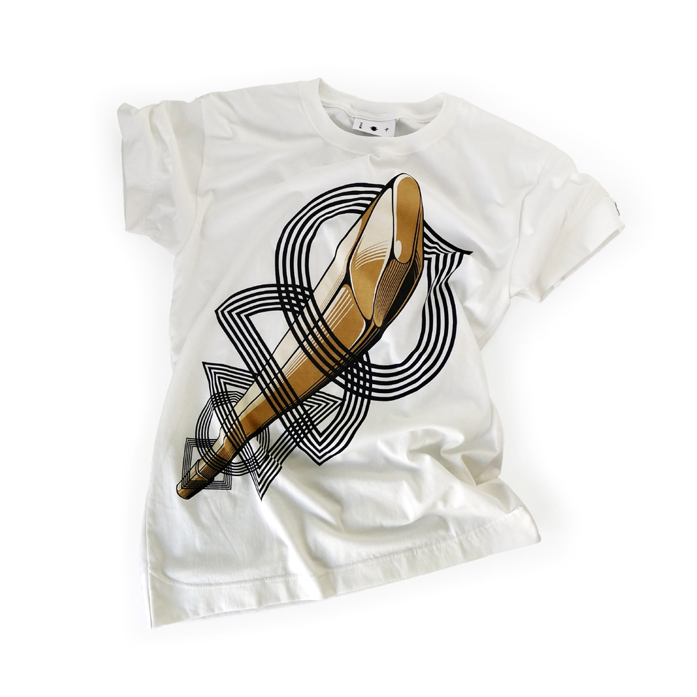 "<div style=""width:60px;display:inline-block;"">model</div> T-shirt #25 ""A Wooden Sword with five Rings""<br><div style=""width:60px;display:inline-block;"">color</div> white<br><div style=""width:60px;display:inline-block;"">material</div> cotton<br><div style=""width:60px;display:inline-block;"">price</div> 7,800JPY(+tax)"