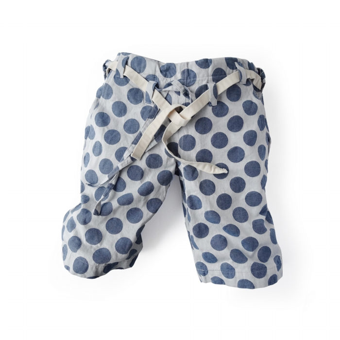 "<div style=""width:60px;display:inline-block;"">model</div> Karate Pants #8 ""Polka-dots""<br><div style=""width:60px;display:inline-block;"">color</div> blue on white<br><div style=""width:60px;display:inline-block;"">material</div> cotton<br><div style=""width:60px;display:inline-block;"">price</div> 18,000JPY(+tax)"