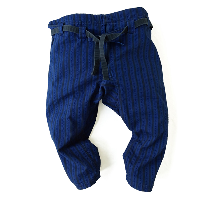 "<div style=""width:60px;display:inline-block;"">model</div> Karate Pants #12 ""Random Stripes""<br><div style=""width:60px;display:inline-block;"">color</div> indigo<br><div style=""width:60px;display:inline-block;"">material</div> cotton<br><div style=""width:60px;display:inline-block;"">price</div> 23,000JPY(+tax)"