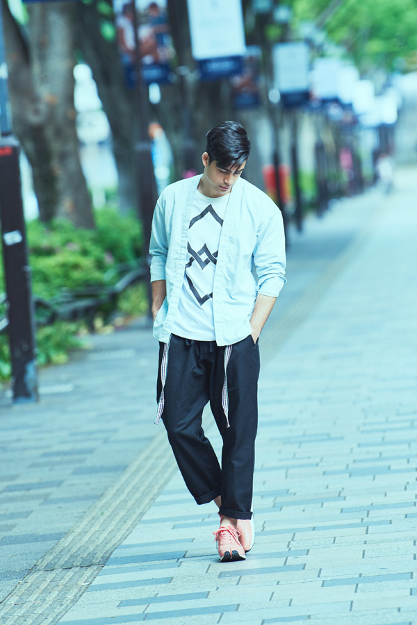 "Yamato #10 (outer top)<br>T-shirt #90 ""Double Spiny Diamond""<br>Karate Pants #15<br>Asuka #1(shoes)"